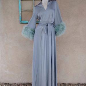 1970s Lilli Diamond Feather Maxi Dress Sz M L